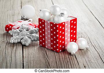achtergrond, hout, cadeau, kerstmis, rode doos, versiering
