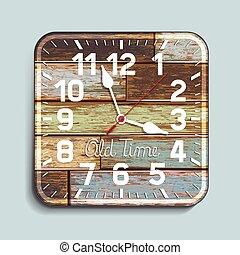 achtergrond., hout, oud, klok