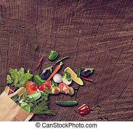 achtergrond, houten, vrijstaand, voedingsmiddelen, gezonde