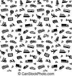 achtergrond, iconen, seamless, vervoeren, behang