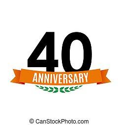 achtergrond, jubileum, illustratie, jaren, vector, 40, mal, lint