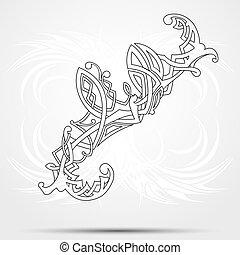 achtergrond., keltisch, vector, art-collection, witte