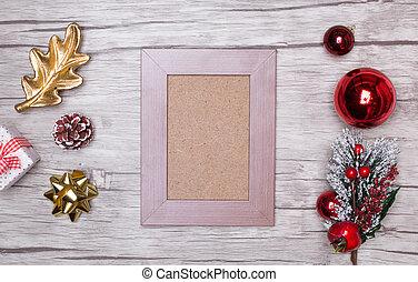 achtergrond, kerstmis, lege, frame.