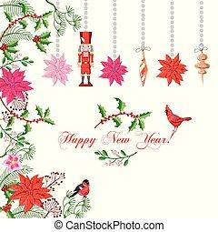 achtergrond, kerstmis, poinsettia