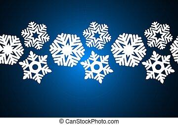 achtergrond., kerstmis, snowflakes, seamless, versiering, ontwerp, blauwe