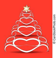 achtergrond, kerstmis, vector, boompje