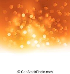 achtergrond, kerstmislicht, sinaasappel, vrolijk