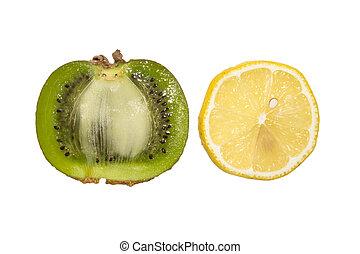 achtergrond., kiwis, witte , citroen, vrijstaand