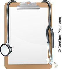 achtergrond, klembord, medisch