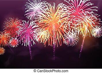 achtergrond., kleur, vuurwerk, feestelijk