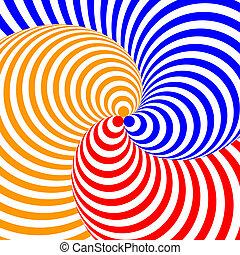 achtergrond., kleurrijke, abstract, illustratie, vervorming, achtergrond., ontwerp, streep, twirl, circulaire, vector-art, illusie, beweging