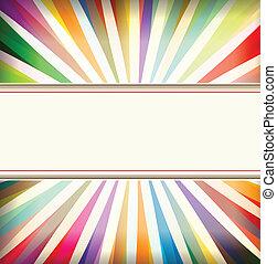 achtergrond, kleurrijke, barsten, ouderwetse , retro, mal, zon