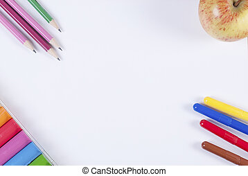 achtergrond, kleurrijke, borstels, accessoires, verf , schilderij, witte