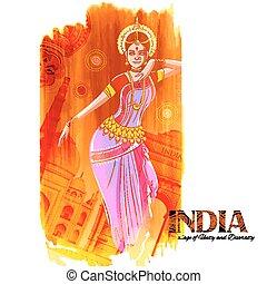 achtergrond, kleurrijke, dancing, danser, het tonen, india, cultuur, indiër, vrouwlijk