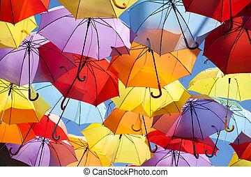 achtergrond, kleurrijke, paraplu, straat, decoration.