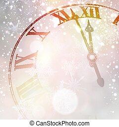 achtergrond., klok, jaar, nieuw, besneeuwd