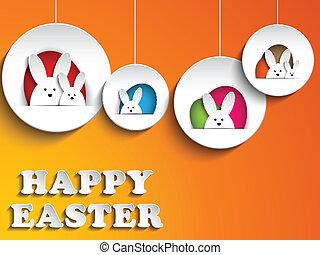 achtergrond, konijn, sinaasappel, paashaas, vrolijke