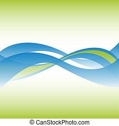 achtergrond., lijnen, vloeiend, abstract