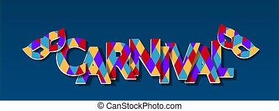 achtergrond., maskers, illustratie, veelkleurig, invitation., paper., flyer, carnaval, schaduw, blauwe , inscriptie, uitsnijden