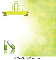 achtergrond, medisch, groen wit, abstract