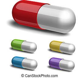 achtergrond., medisch, set, capsule, witte