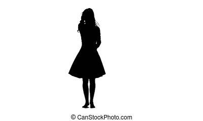 achtergrond., meisje, silhouette, witte , het dansen.