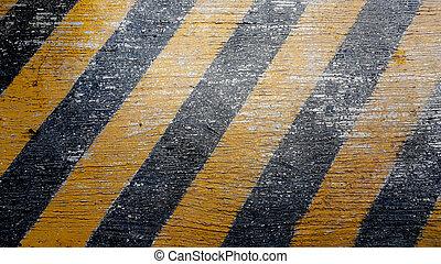 achtergrond, met, asfalteren straat, textuur, en, gevaar, strepen