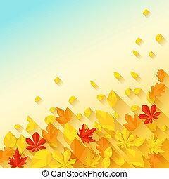 achtergrond, met, autumn leaves, in, plat, ontwerp, style.