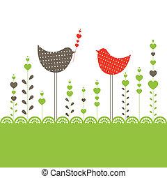 achtergrond, met, birds., vector, illustratie