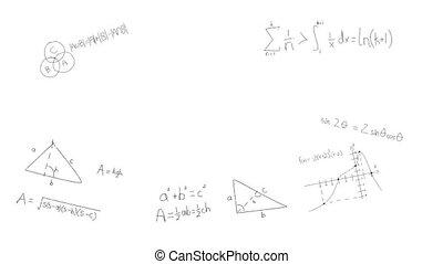 achtergrond, met de hand geschreven, witte , wiskundig, ...