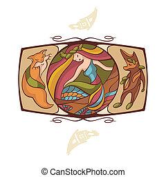 achtergrond, met, een, mermaid