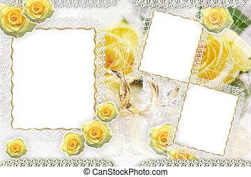 achtergrond, met, frame, en, rozen