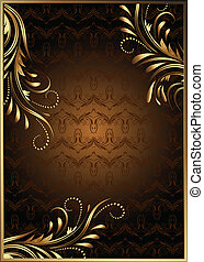 achtergrond, met, gouden, ornament