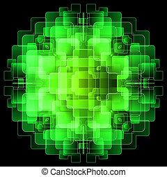 achtergrond, met, groene, digitale , schermen