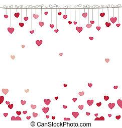 achtergrond, met, heart., vector, illustratie
