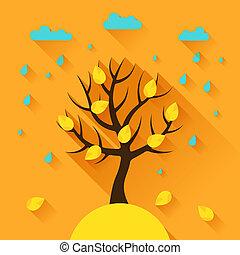 achtergrond, met, herfst, boompje, in, plat, ontwerp, style.