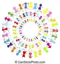 achtergrond, met, kinderen, blijvende in, cirkels