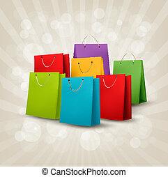 achtergrond, met, kleurrijke, shoppen , bags., korting, concept., vector, illustration.
