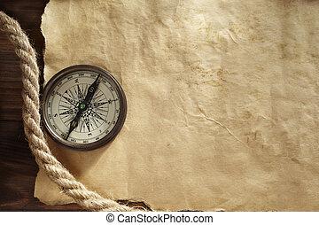 achtergrond, met, kompas