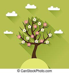 achtergrond, met, lente, boompje, in, plat, ontwerp, style.