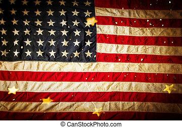 achtergrond, met, ouderwetse , usa, flag.
