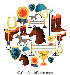 achtergrond, met, paarde, uitrusting, in, plat, style.