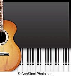 achtergrond, met, piano toetsen