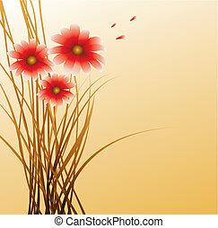 achtergrond, met, rode bloemen