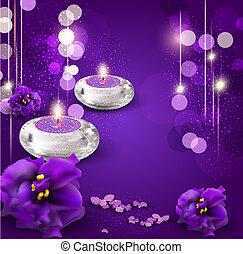 achtergrond, met, romantische, kaarsjes, en, viooltjes, op,...