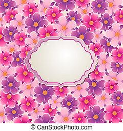 achtergrond, met, roze, en, violet bloemen