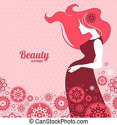 achtergrond, met, silhouette, van, zwangere vrouw