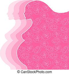 achtergrond, met, silhouette, van, zwangere , woman.