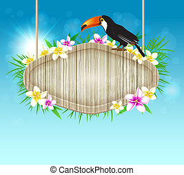 achtergrond, met, toucan, en, houten, spandoek