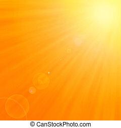 achtergrond, met, warme, zon, en, de gloed van de lens